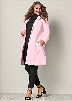 plus size ruffle back coat