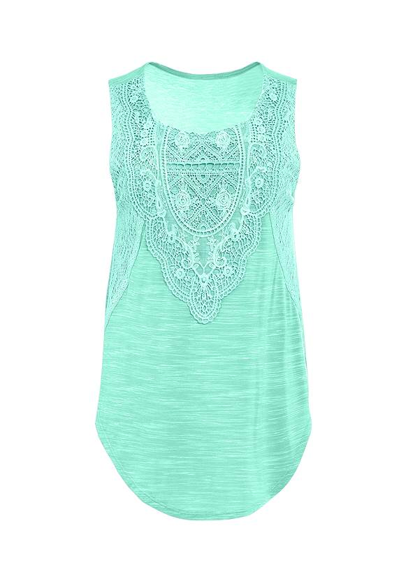 Front view Lace Detail Scoop Neck Top