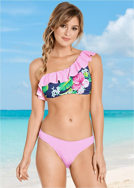 RUFFLE ONE SHOULDER TOP,SCOOP FRONT BIKINI BOTTOM,FOLD WAIST BIKINI BOTTOM,DRAWSTRING SWIM SHORTS,MID RISE BOTTOM