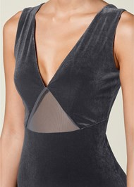 Alternate view Mesh Insert Velvet Bodysuit
