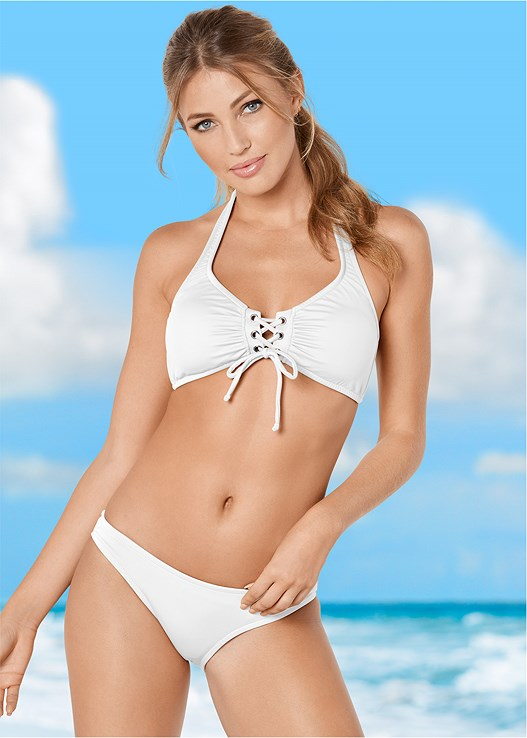 525d0cfa3f Bright White GROMMET LACE UP HALTER TOP