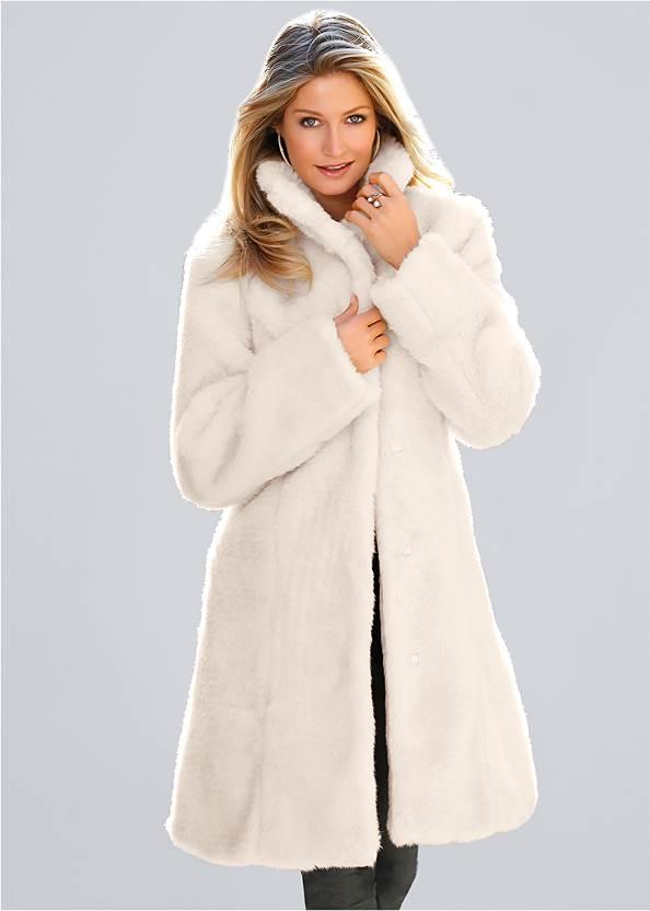 Faux Fur Coat,Mid Rise Slimming Stretch Jeggings,Fringe Scarf