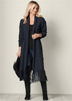 fringe detail duster
