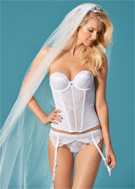 BRIDAL LACE DETAIL CORSET,BRIDAL LACE CHEEKY PANTIES,BRIDAL LACE GARTER BELT