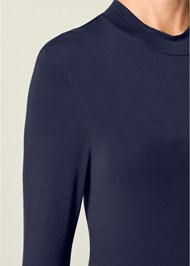 Alternate View Ruffle Sleeve Mock Neck Top