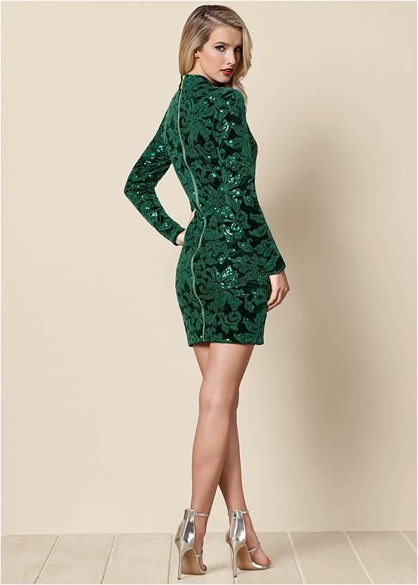 BACK VIEW Sequin Detail Velvet Dress