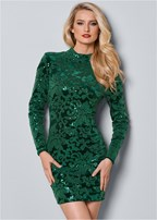 sequin detail velvet dress
