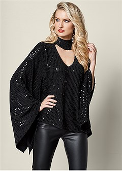 sequin poncho top