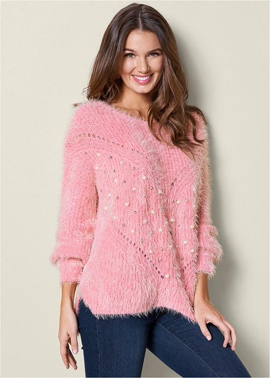 PEARL DETAIL COZY SWEATER