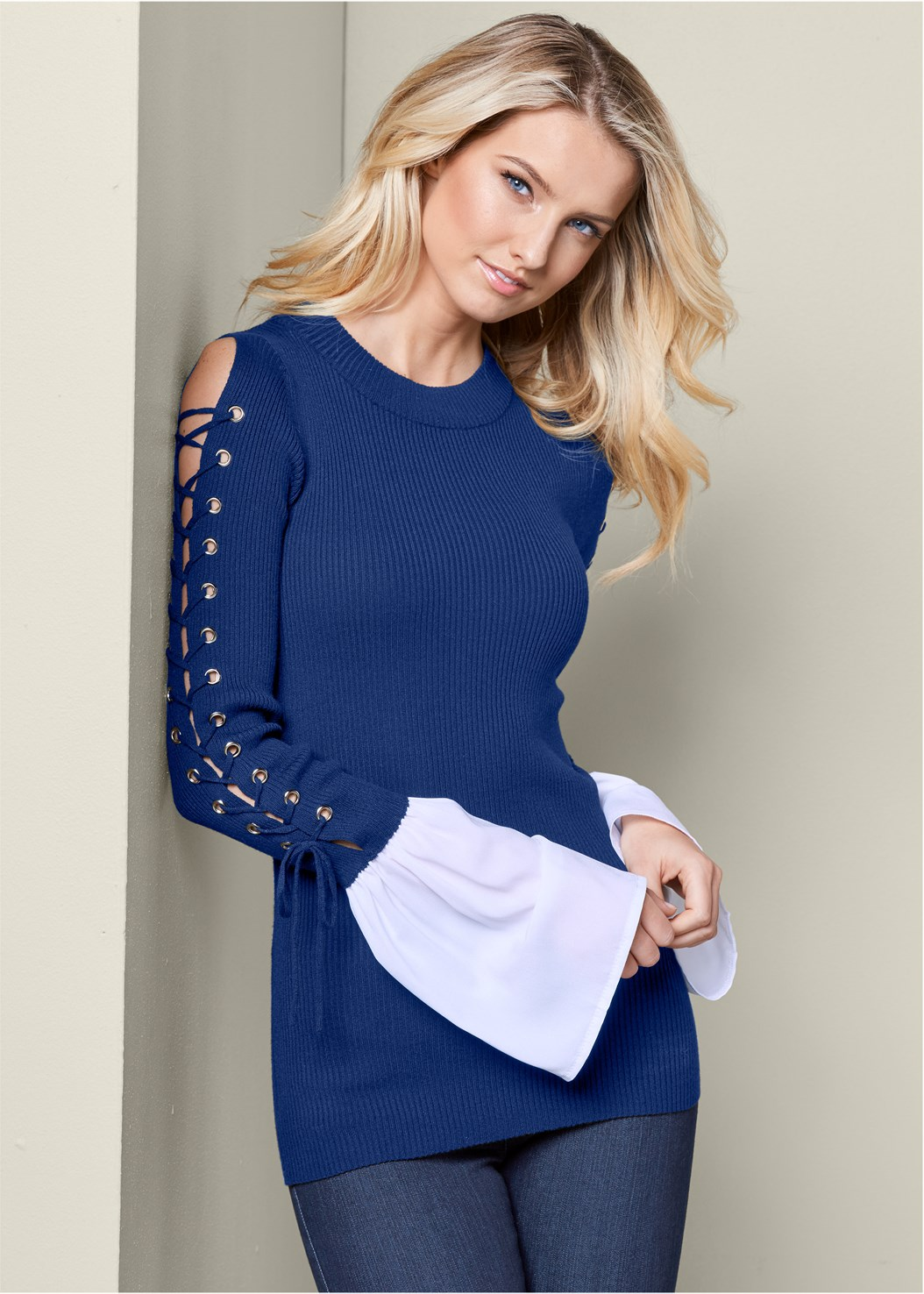 Lace Up Detail Sweater,Mid Rise Slimming Stretch Jeggings