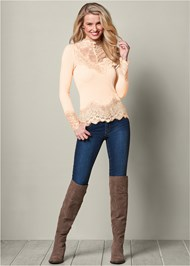 FRONT VIEW Lace Detail Top
