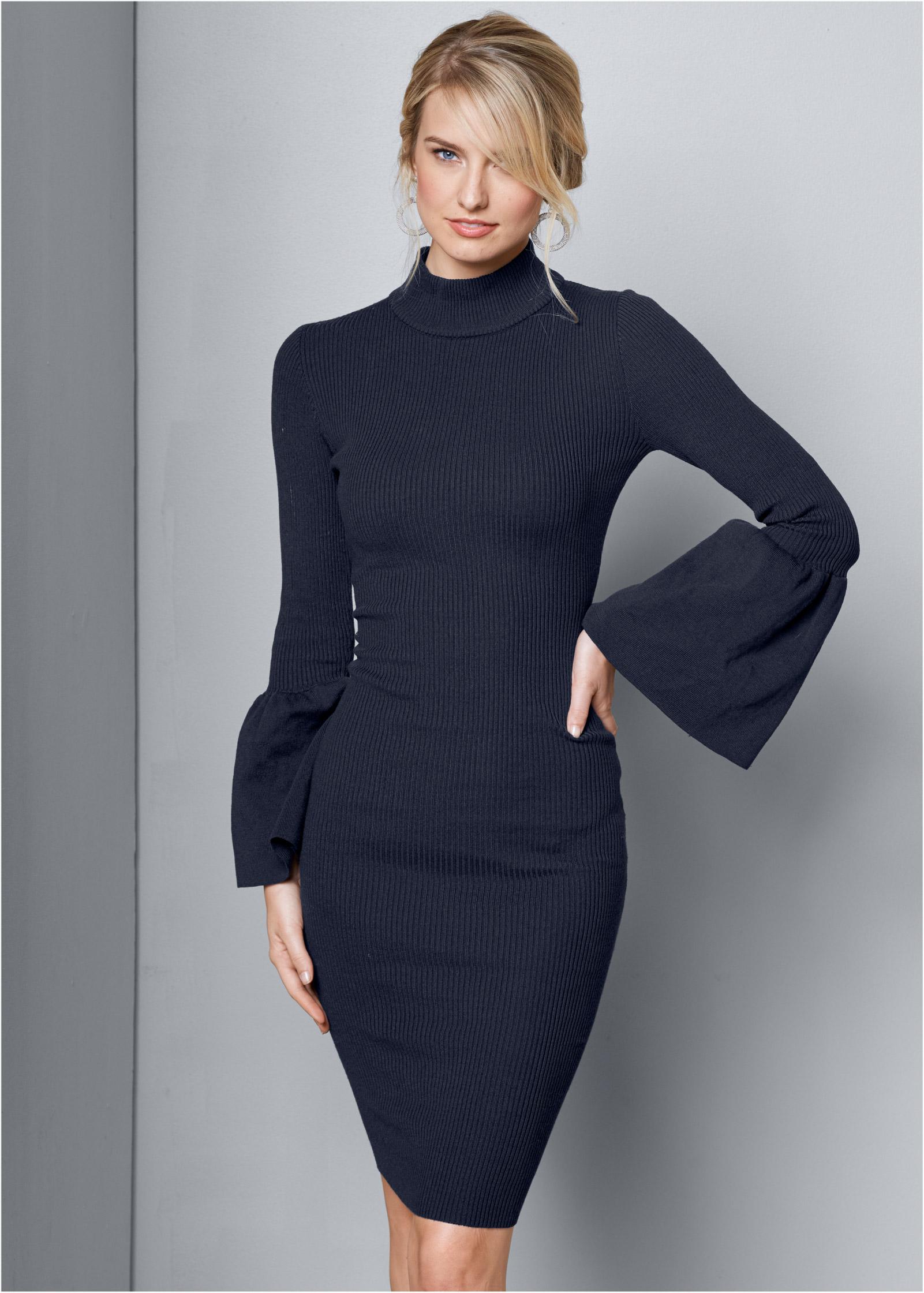 Long Sleeve Black Turtleneck Sweater Dress