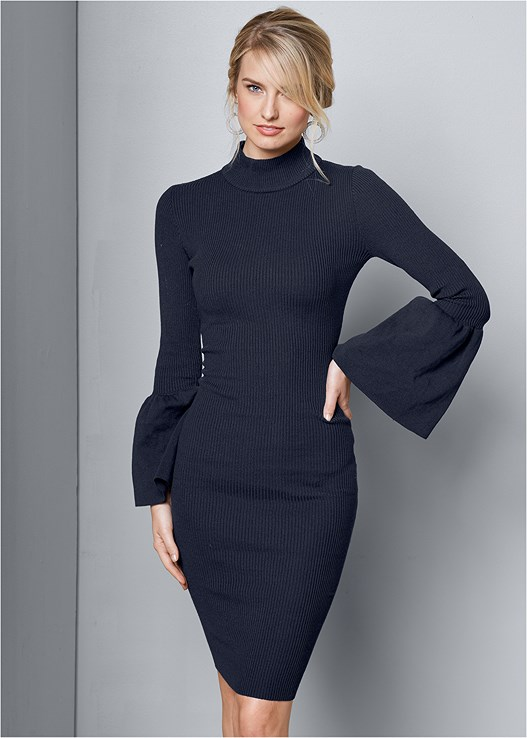 SLEEVE DETAIL SWEATER DRESS,SLOUCHY LAYERED STRAP BOOTS,MESH HOOP EARRINGS