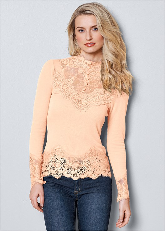 LACE DETAIL TOP,COLOR SKINNY JEANS,BUCKLE FAUX SUEDE BOOT