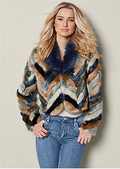 faux fur multi color coat