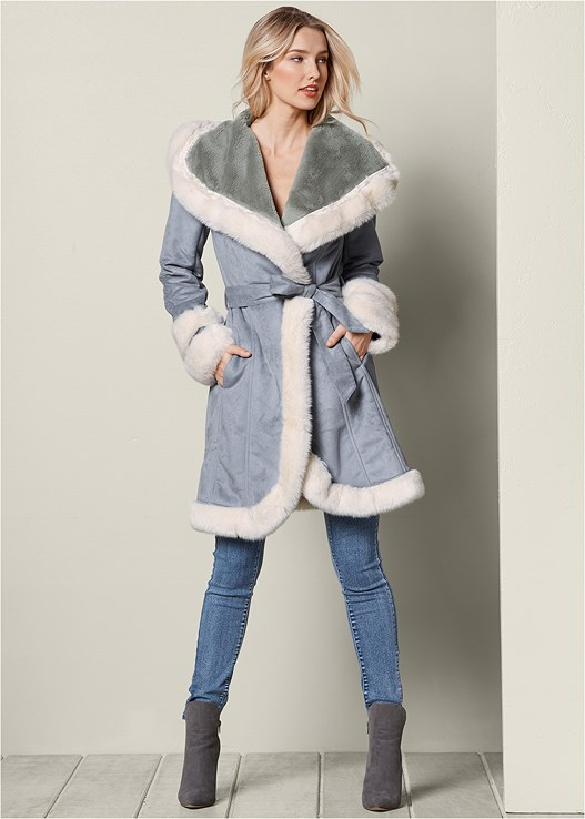 TWO TONE FAUX FUR COAT,COLOR SKINNY JEANS