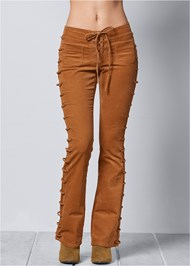 FRONT VIEW Lace Up Corduroy Pants