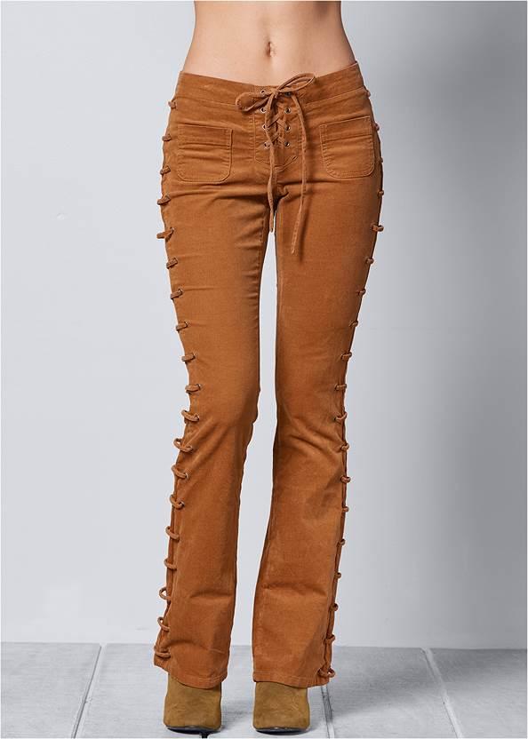 FRONT VIEW Lace Up Corduroy Pants