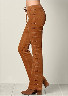 plus size lace up corduroy pants