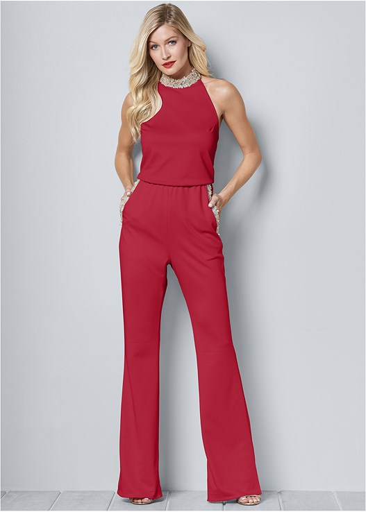 PEARL DETAIL JUMPSUIT,HIGH HEEL STRAPPY SANDALS