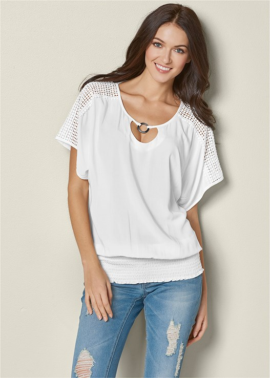 LACE DETAIL TOP,BRAIDED DETAIL WEDGE