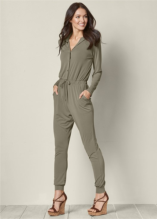 POCKET DETAIL JUMPSUIT,BRAIDED DETAIL WEDGES
