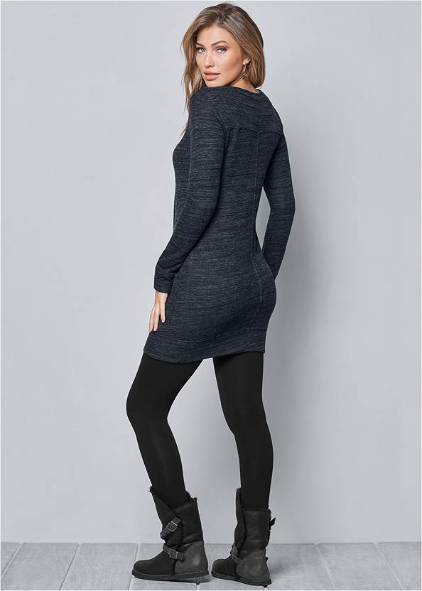 BACK VIEW Lace Up French Terry Dress