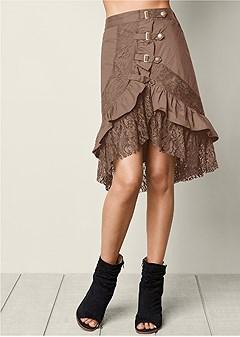 ruffle lace buckle skirt