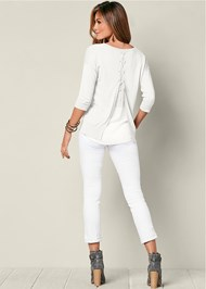 Front view Lace Up Back Sweater