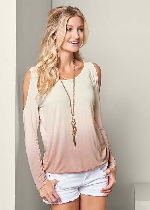 59bf8c33436409 OMBRE COLD SHOULDER TOP in Cream Multi