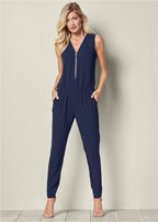zip up detail jumpsuit