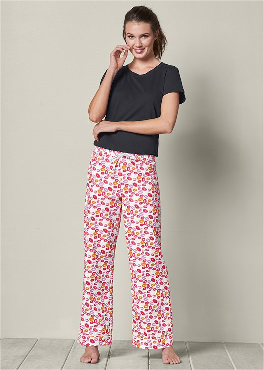 DRAWSTRING SLEEP PANT,SHORT SLEEVE SLEEP TEE