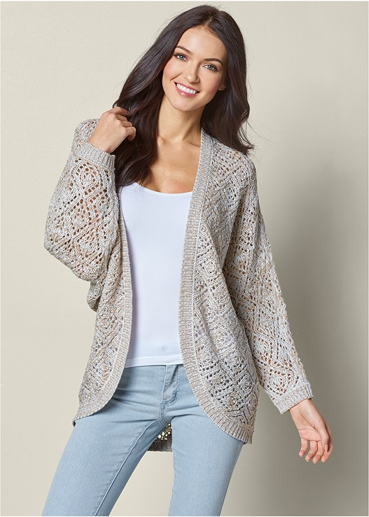 OPEN KNIT CARDIGAN,SEAMLESS CAMI,COLOR SKINNY JEANS,HIGH HEEL STRAPPY SANDAL