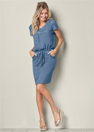 Front view Tie Waist Casual Dress