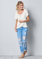ripped floral jeans