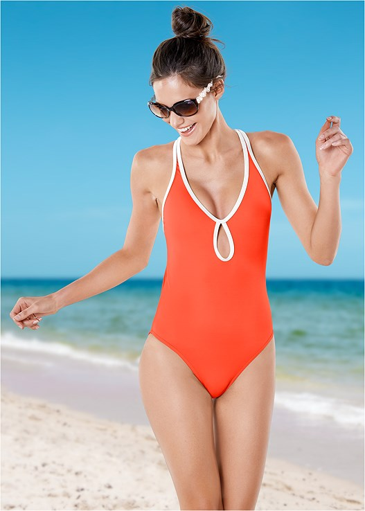 CURVACEOUS ONE-PIECE,STRAPPY ROMPER COVER-UP,STRAW FRINGE HAT