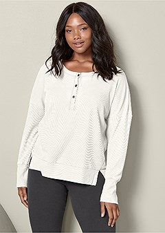 plus size thermal henley lounge top