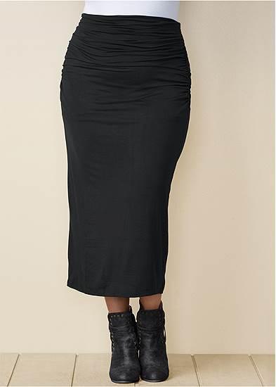 Plus Size Gathered Waist Long Skirt