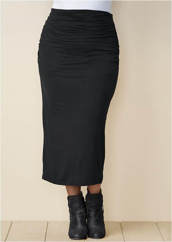 Gathered Waist Long Skirt,Wrap Stitch Detail Booties