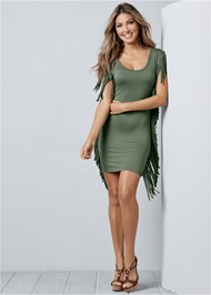Alternate View Fringe Trim Dress
