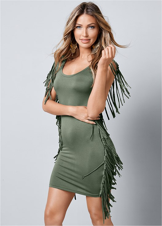 cac78daa361 FRINGE TRIM DRESS in Olive