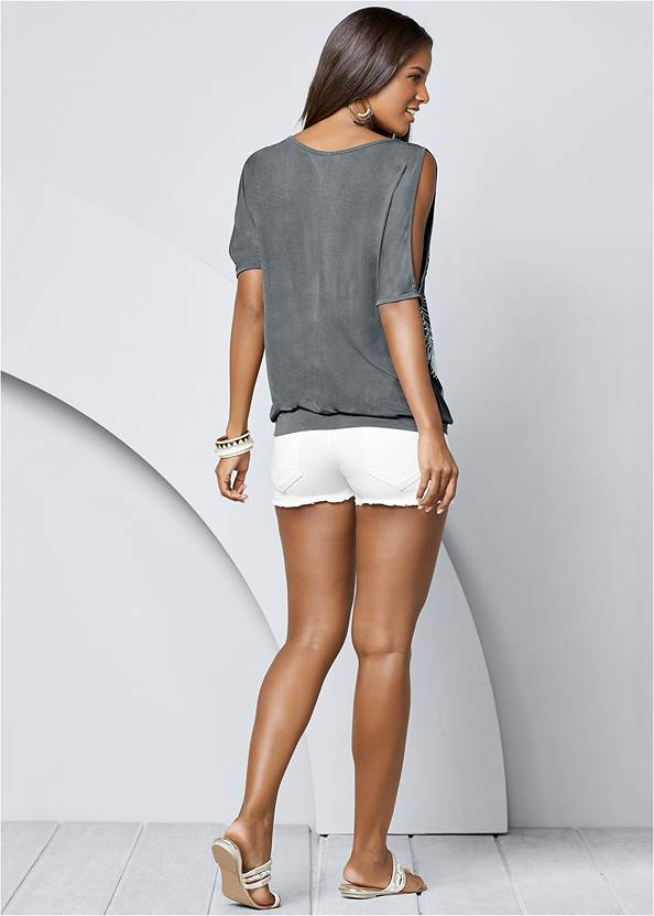 Back view Feather Cold-Shoulder Tee