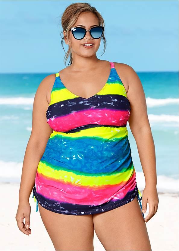 Adjustable Long Tankini Top,Full Coverage Mid Rise Hipster Bikini Bottom,Gathered Neckline Cover-Up Dress