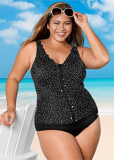 Plus Size Ruched One-Piece