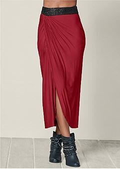 waistband detail maxi skirt
