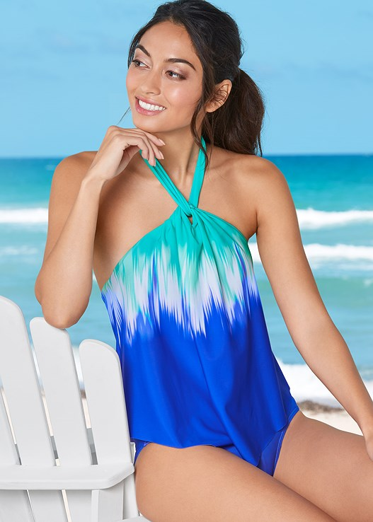HIGH NECK FLOUNCE ONE-PIECE,ROMPER COVER-UP,STEVE MADDEN SUNGLASSES