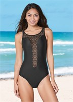 high neck crochet one piece