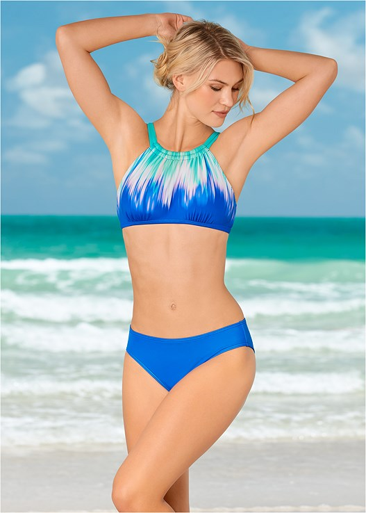 HIGH NECK SPORT TOP,MID RISE BIKINI BOTTOM,ALLURING HIGH WAIST BOTTOM,ASYMMETRICAL BOTTOM