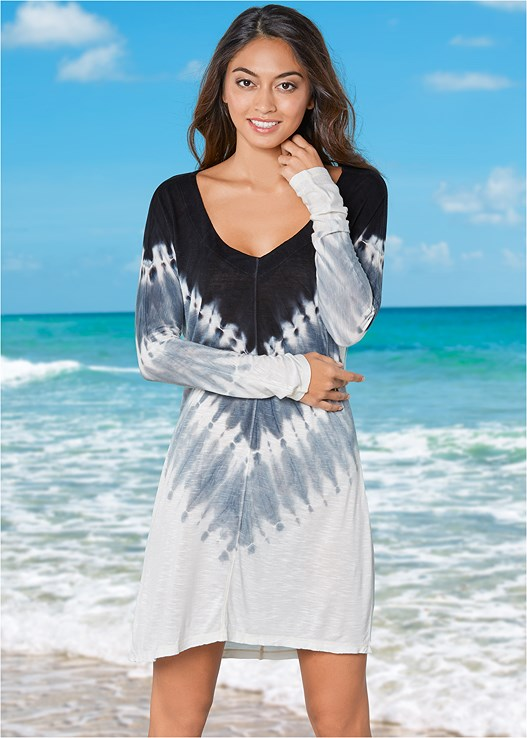 TIE DYE COVER-UP,BRAIDED LACE UP ONE-PIECE