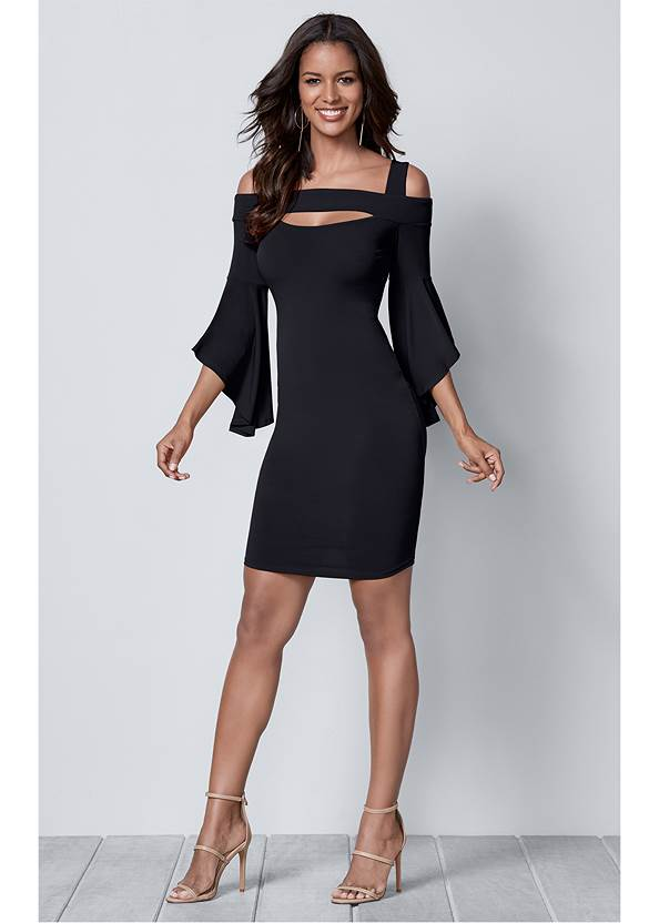 Full front view Cold Shoulder Bodycon Dress
